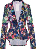 2017 Fashion Women Autumn Tailored Collar Floral Printed And Solid Coat