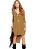 Fashion Women Spring Autumn Solid Khaki O-Neck Slit Side Dress