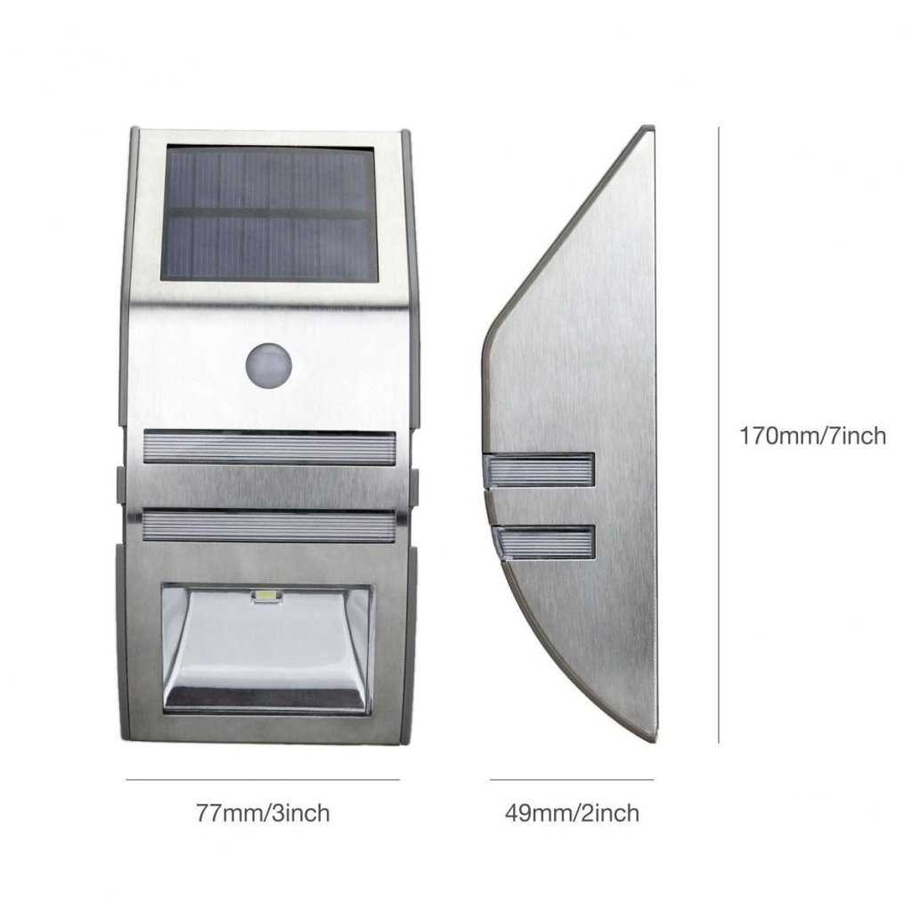 2 LED Modern AluminumOutdoor Solar Wall Light