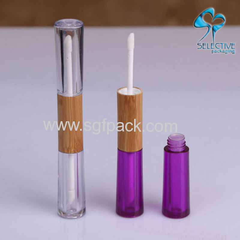 Two head bamboo lip gloss tube