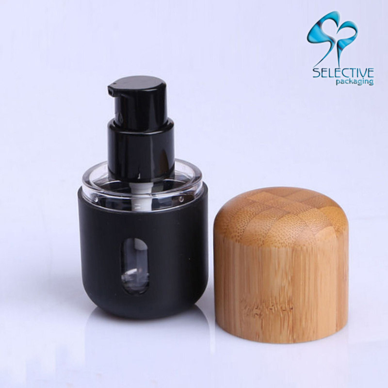 Bamboo cover liquid foundation bottle