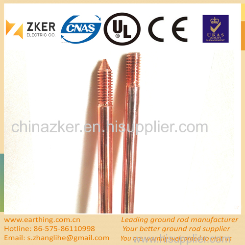 copper clad threaded taper ground rod