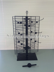 2 Way Rotating Metal Wire Display Shelving Glove Display Stand With Metal Hooks