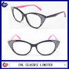 Women cat eye eyewear acetate optical frame glasses newest trendy optical frames with crystal