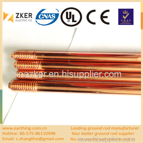 solid copper coated steel ground rod