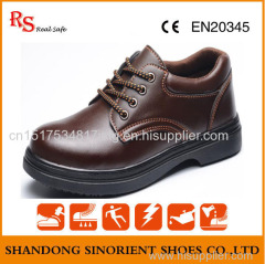 Slip resistant steel toe light officer men safety shoes with good quality leather upper RH113
