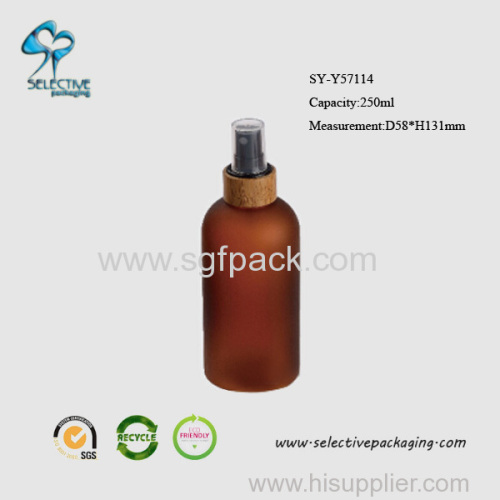 250ml frosted amber lotion pump boston round bottle
