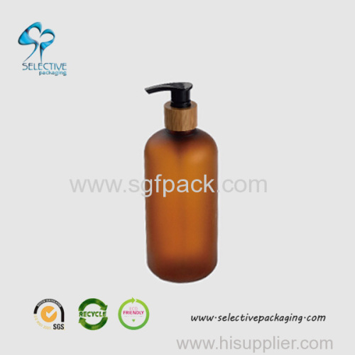 500ml large capacity amber boston round lotion pump bottle