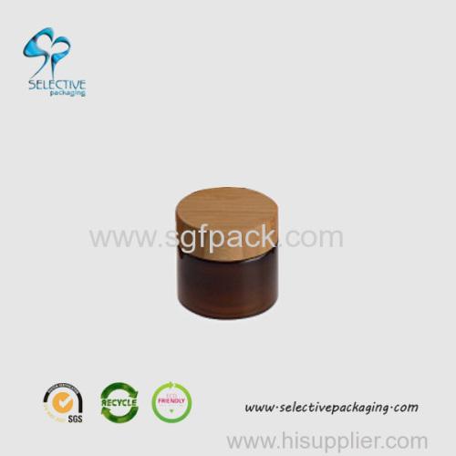 Tampa de parafuso de madeira de jarro de PET de âmbar de 50g
