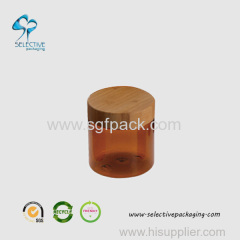 240g amber wide mouth cream jar with wood lid