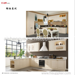 Wooden home furniture Kitchen cabinet and cupboard in natural color and fashion style