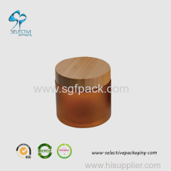 500ml large capacity amber round cream jar with wood lic