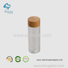 150ml small clear PET round bottle with wood screw cap
