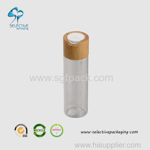 100ml transparent PET lotion bottle with big bamboo press cap