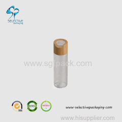 60ml transparent PET bottle with big bamboo press cap