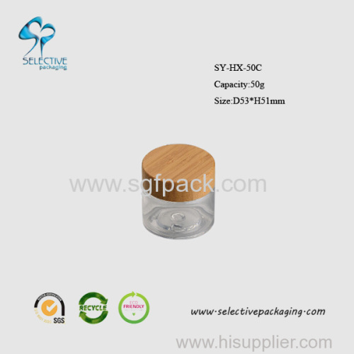 50g clear cream jar with wooden screw cap