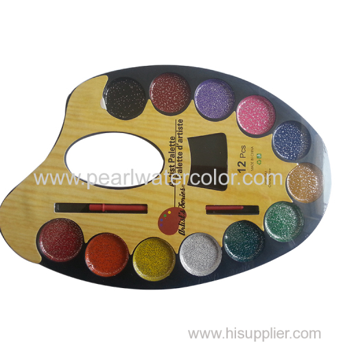 12 Color Glitter Watercolor Paint Palette Cakes