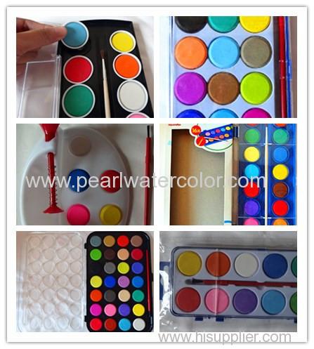 12 Color Glitter Watercolor Paint Palette Cakes