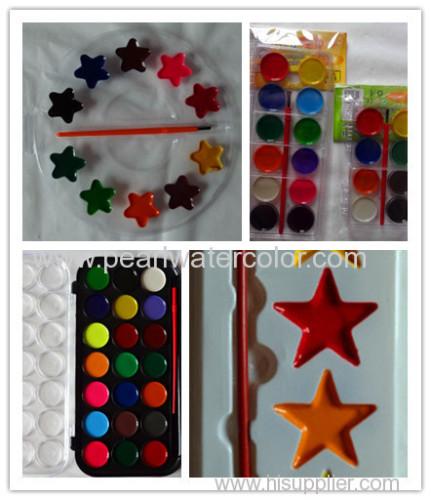 6 colors semi moist watercolor paint set