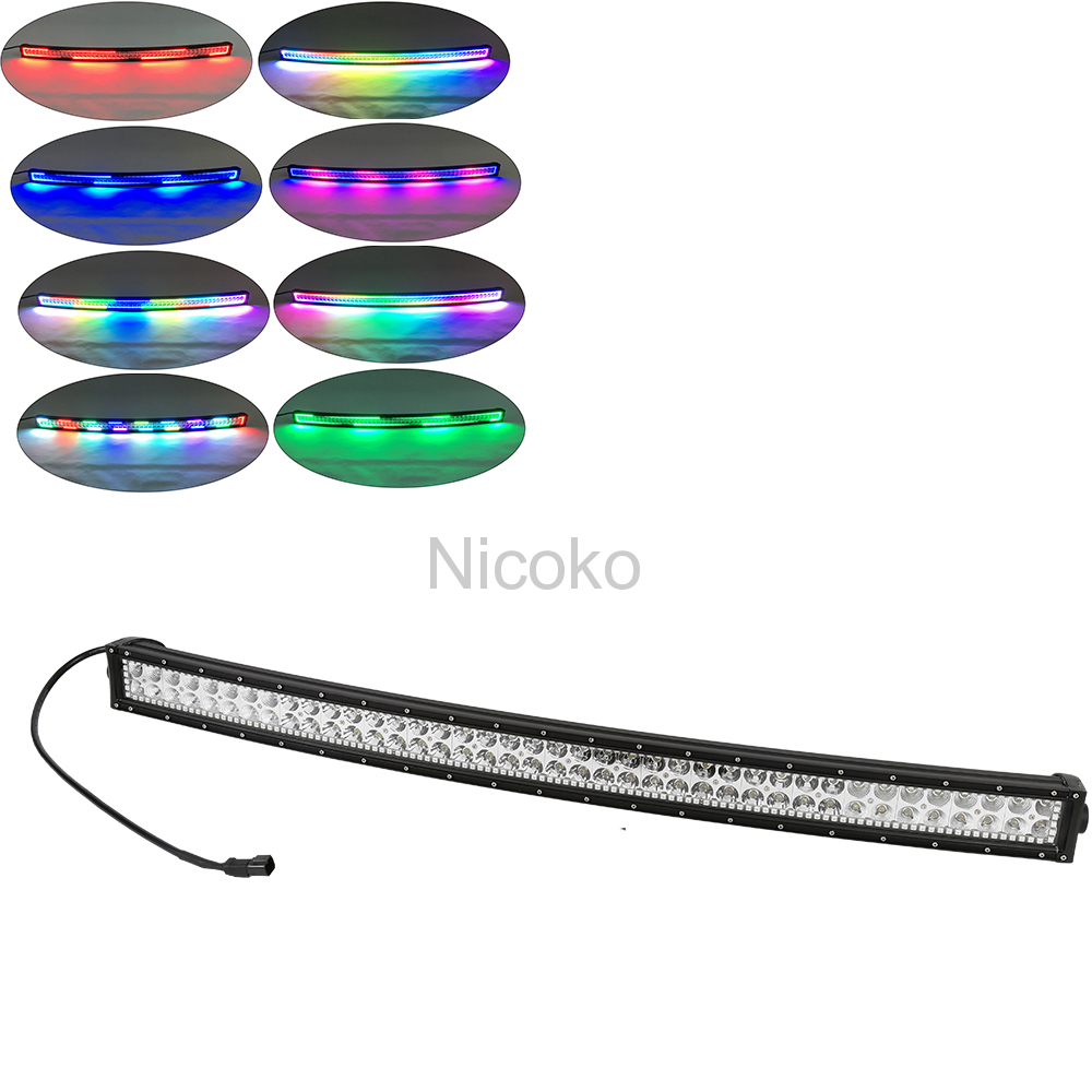 180w Curved LED Work Light Bar with Chaser RGB Halo for Indicators Driving Offroad Boat Car Tractor Truck 4x4 SUV ATV