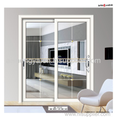 Sliding glass patio door with aluminum frame