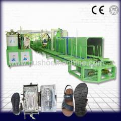 Double color machinery for shoe production
