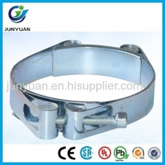 European Galvanized Steel Double Bolt Hose Clamp