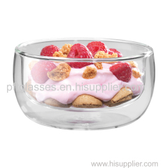 Double wall glass bowls for salad and ice creams