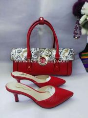 Red PU leather women slipper with matching handbag