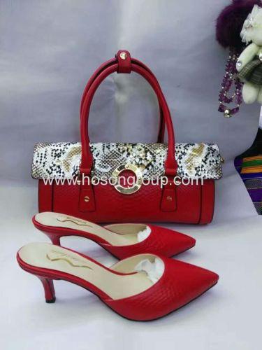 Red PU leather women slipper with matching handbag