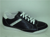 Black leather lace mens sports shoes