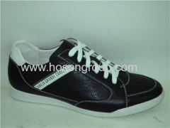 Black leather lace mens casual shoes
