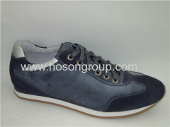Navy blue round toe lace mens shoes