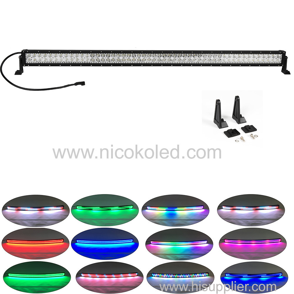 "300W 52"" Straight Led Outdoor light bar with Chaser RGB Halo"
