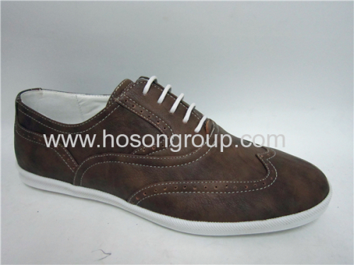 Brown color PU leather mens casual shoes