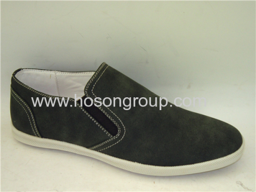 Elastic band leather mens casual shoes