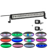 "120W 22"" Straight Led offroad light bar with RGB chaseing halo+2x12w Pods Chaser RGB Halo"