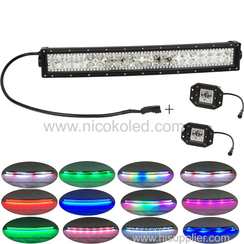"120W 22"" Curved Led Truck&Tractor light bar +2x flushmount Pods with Chaser RGB halo"