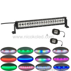 "Straight 120W 22"" High Brightness Led light bar +2x flushmount Pods with Chaser RGB halo"