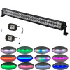 "Straight 180W 32"" IP68 offroad Led light bar +2x flushmount Pods with Chaser RGB halo"