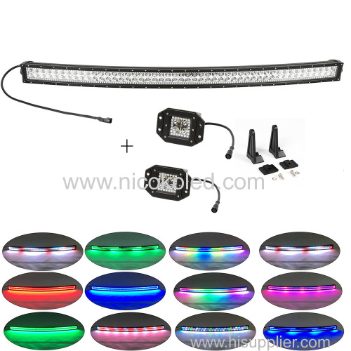 "32"" Curved OffRoad LED Light Bar chasing 180W +2x flushmount Pods Chasing halo"