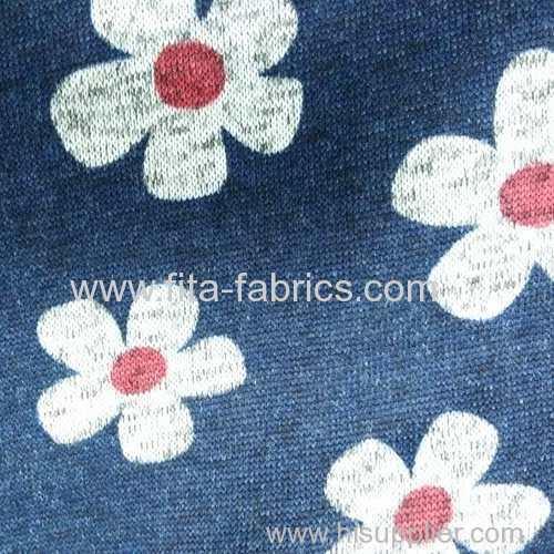 Printed coarse needle fleece fabric