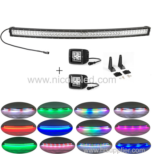 "Curved 180W 32"" Off-Road & Truck led Light Bar with chasing halo +2xPods Chaser RGB halo"