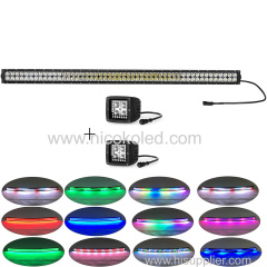 "240w straight 42""Led Light Bar headlights chasing halo+2xPods Chaser RGB halo for cars"