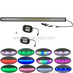 "288w straight 42""Led COMBO beam light bar Chaser RGB halo +2x flushmount Pods for truck"