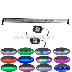 "Curved 288w 42""Led COMBO beam light bar Chaser RGB halo +2x flushmount Pods for Drving fog"