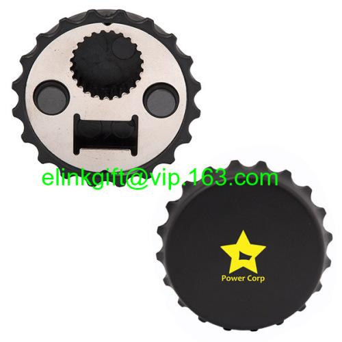 popular plastic round cap shaped fridge magnetic bottle opener magnet