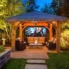 modern style outdoor garden wooden pavillion