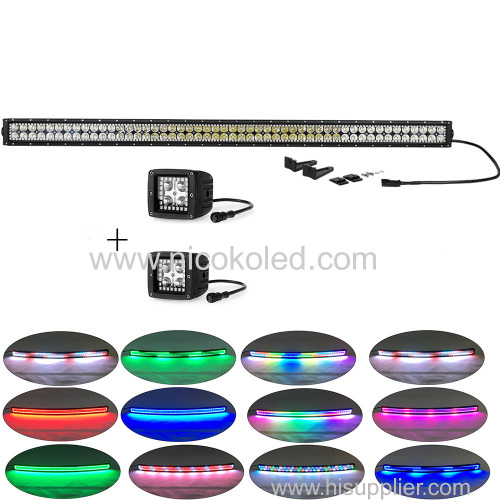 """Straight 42"""" 240w OffRoad COMBO LED Light bar chasing +2xpods chasing"""