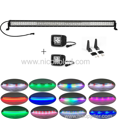 "300w 52"" straight led light bar foglights for driving chasing halo+2xpods halo"